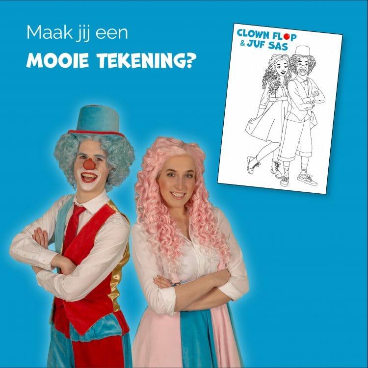 Tekening voor Clown Flop & Juf Sas